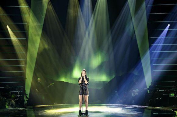 Emma in actie tijdens de finale.