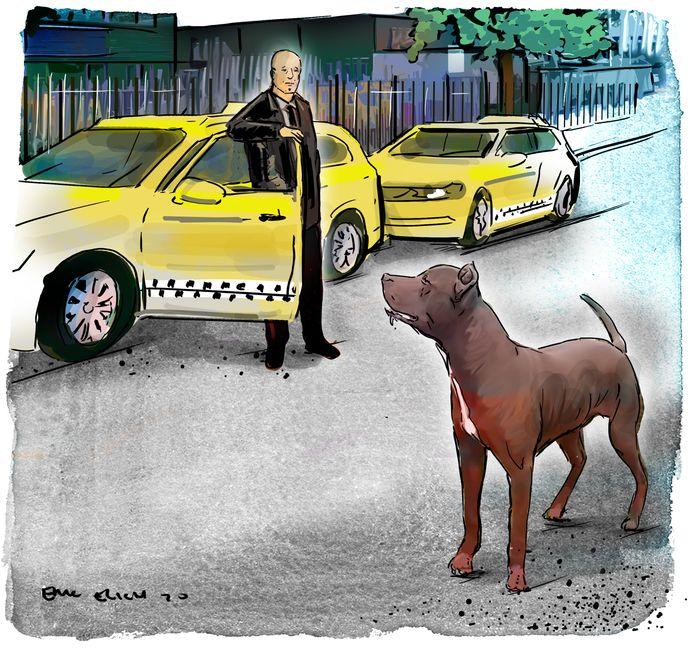 Taxichauffeur Huseyin bij de loslopende pitbull.