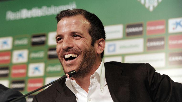 Rafael van der Vaart in gelukkiger tijden, tijdens zijn presentatie voor Real Betis. Beeld afp