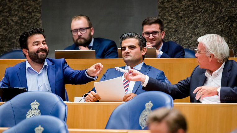 Selcuk Ozturk, Tunahan Kuzu en Norbert Klein tijdens de Algemene Politieke Beschouwingen. Beeld null