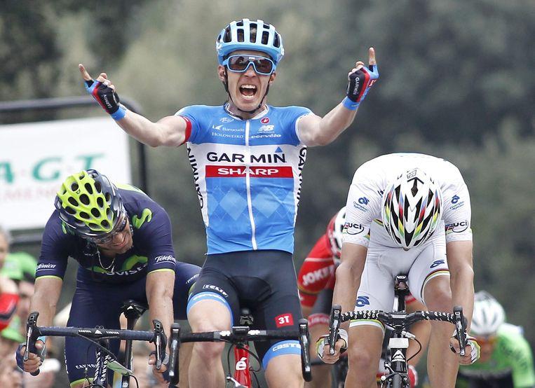Tom-Jelte Slagter na zijn etappezege in Parijs - Nice Beeld ANP