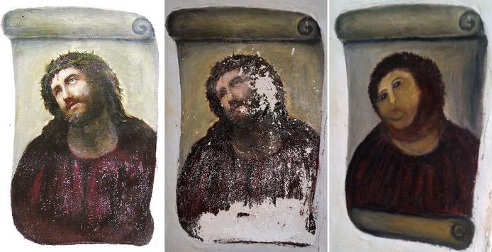 De Ecco Homo was volgens kenners al geen meesterwerk. De muurschildering werd in 1910 in twee uur tijd door kunstenaar Elias Garcia Martinez op een kerkzuil geschilderd. De mislukte restauratie door Cecilia Giménez maakte de schildering wereldberoemd.