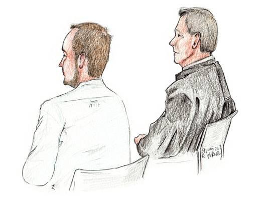 Lukasz S. met zijn advocaat in de rechtbank vanmiddag.