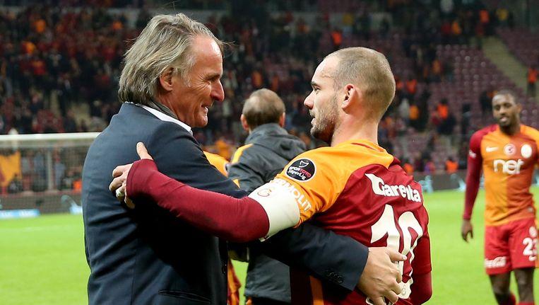 Jan Olde Riekerink en Wesley Sneijder. Beeld Getty Images