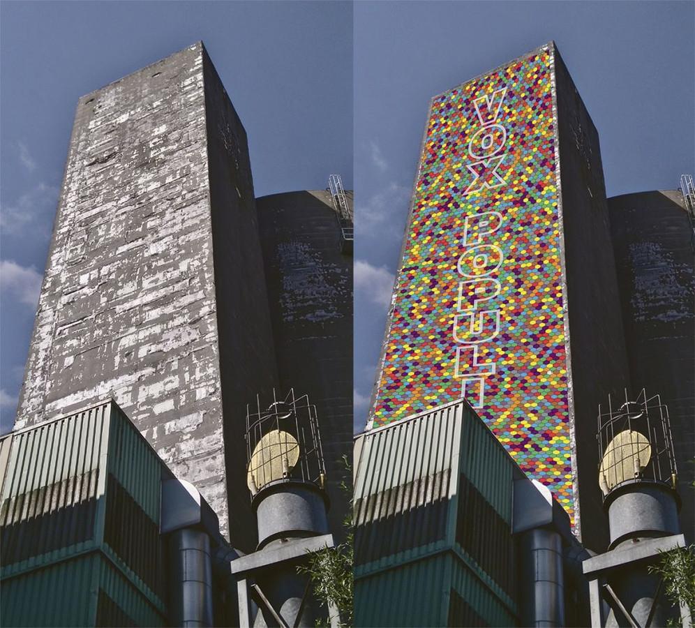 Impressie van hoe de suikersilo in Sas van Gent er uit kan komen te zien.