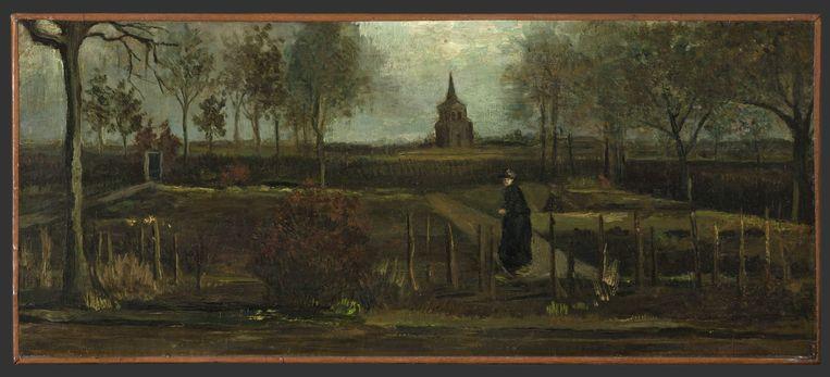 Het gaat om het werk Lentetuin, de pastorietuin te Nuenen in het voorjaar. Van Gogh schilderde het in 1884.