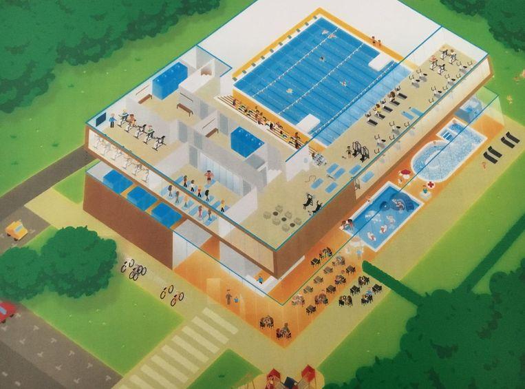 Het nieuwe complex telt naast het zwembad ook een fitnesszaal en een cafetaria.