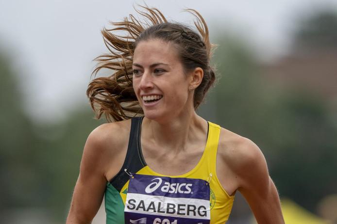 Evelien Saalberg, winnares 400 meter horden bij de NK Atletiek 2019.