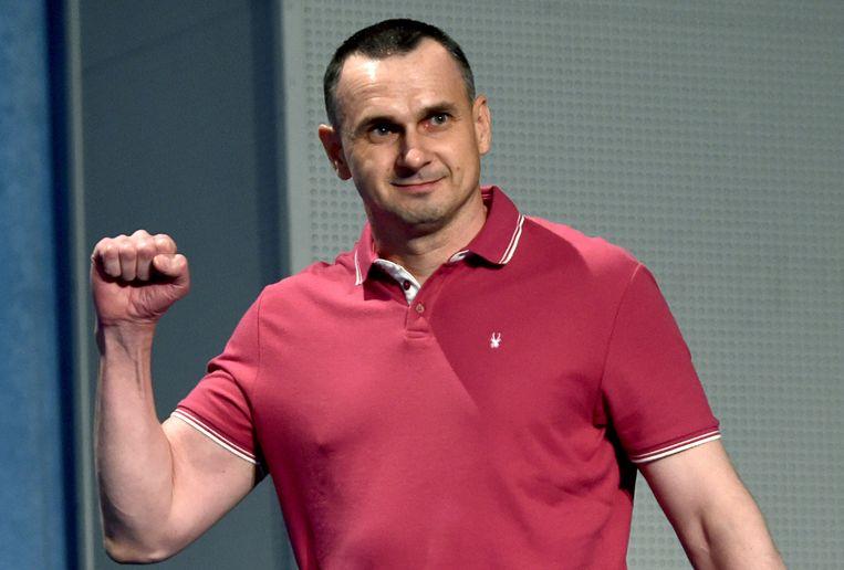 Regisseur Oleg Sentsov in september in Kiev. Beeld AFP