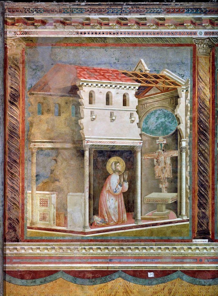 Giotto di Bondone en werkplaats, Franciscus bidt in de San Damiano, ca. 1290. Beeld null