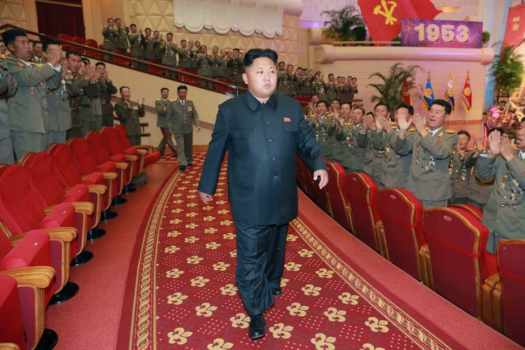 Kim Jong-un bij een optreden in Pyongyang. De foto werd in juli van dit jaar vrijgegeven door een Noord-Koreaans persbureau. Beeld belga