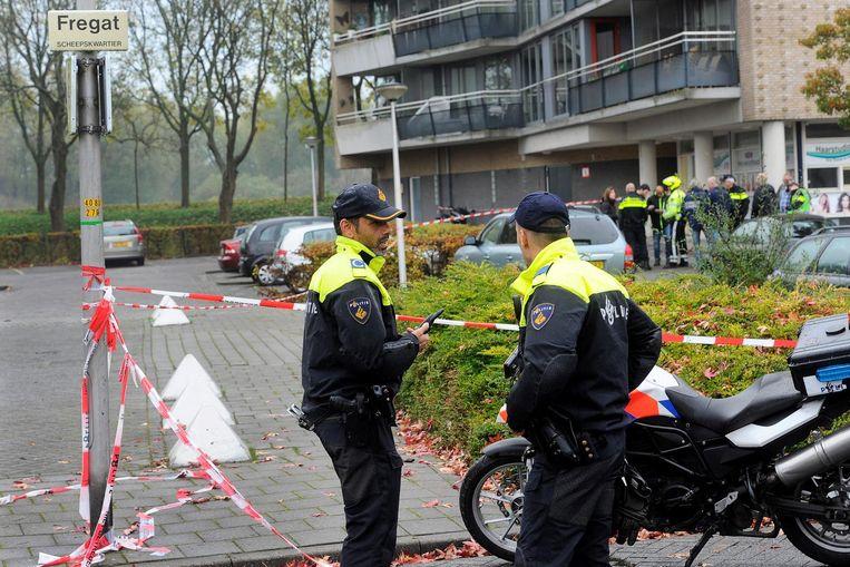 Politie in Diemen, kort na de aanslag. Beeld anp
