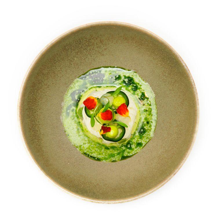 Coquille met avocado, jicama (een soort zoete rettich) en koriander. Beeld Els Zweerink