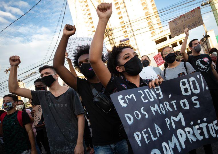 Tegenstanders van Bolsonaro in São Gonçalo dit weekend. Beeld Getty Images