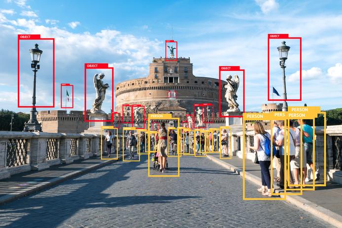 Gezichtsherkenning in het AI-programma in het buitenland.