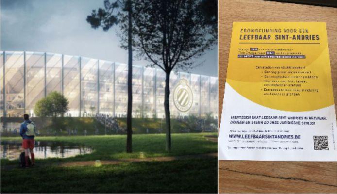 Het nieuwe stadion van Club en de flyer van de buurtbewoners.