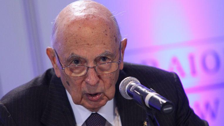 Forza Italia vraagt zich af of de herverkiezing van president Giorgio Napolitano (foto) in april wel rechtsgeldig was Beeld epa