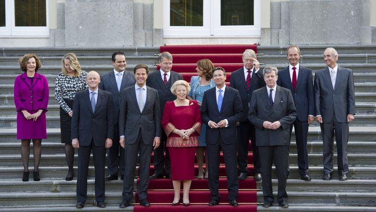 Het kabinet-Rutte met koningin Beatrix Beeld null