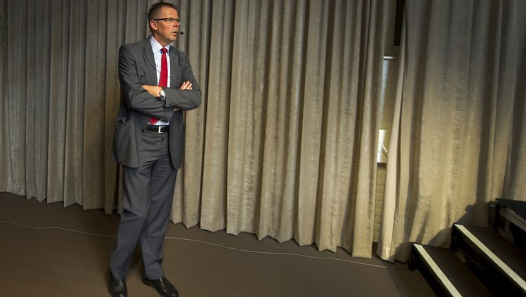 Terpstra in 2011 bij zijn eerste informatiebijeenkomst als bestuursvoorzitter van Inholland, in Diemen. Beeld anp