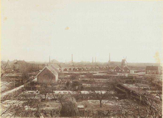 Gezicht op de omgeving van de Nieuwstraat vanaf de villa van C.T. Stork.