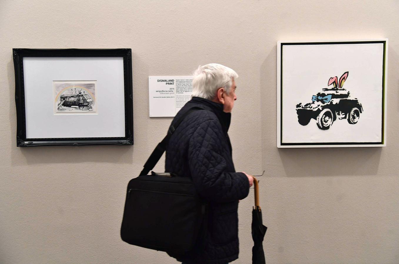 Illustration. Les oeuvres de Banksy ont récemment été exposée à Gênes, en Italie.