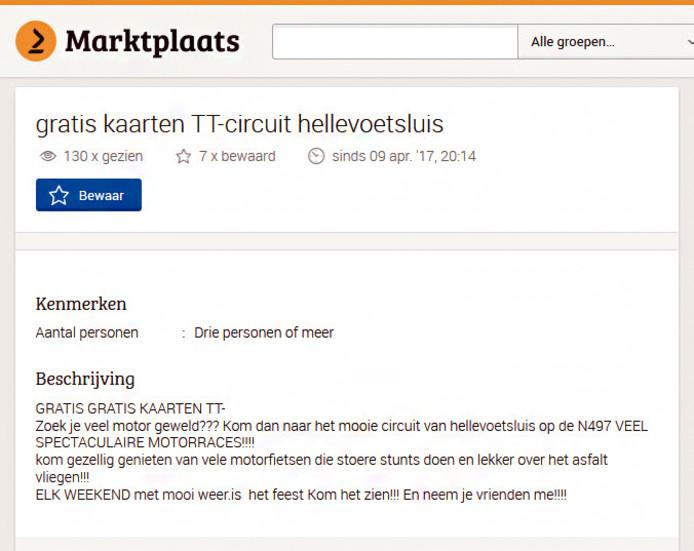De advertentie op Marktplaats als protest tegen hardrijders in Hellevoetsluis