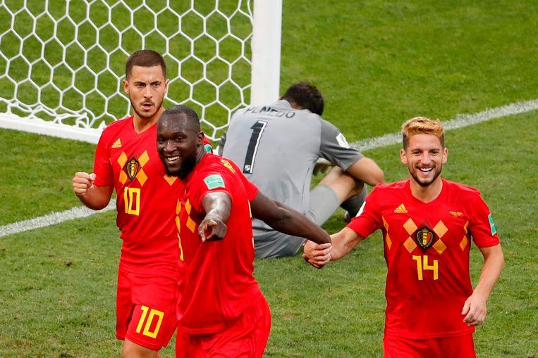 Romelu Lukaku scoort de 2-0 voor België. Beeld AFP