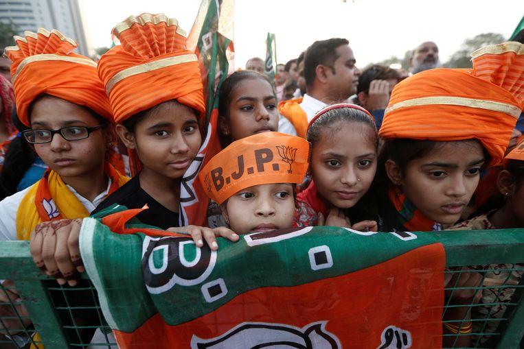 Een campagnebijeenkomst van premier Modi in New Delhi.  Beeld REUTERS