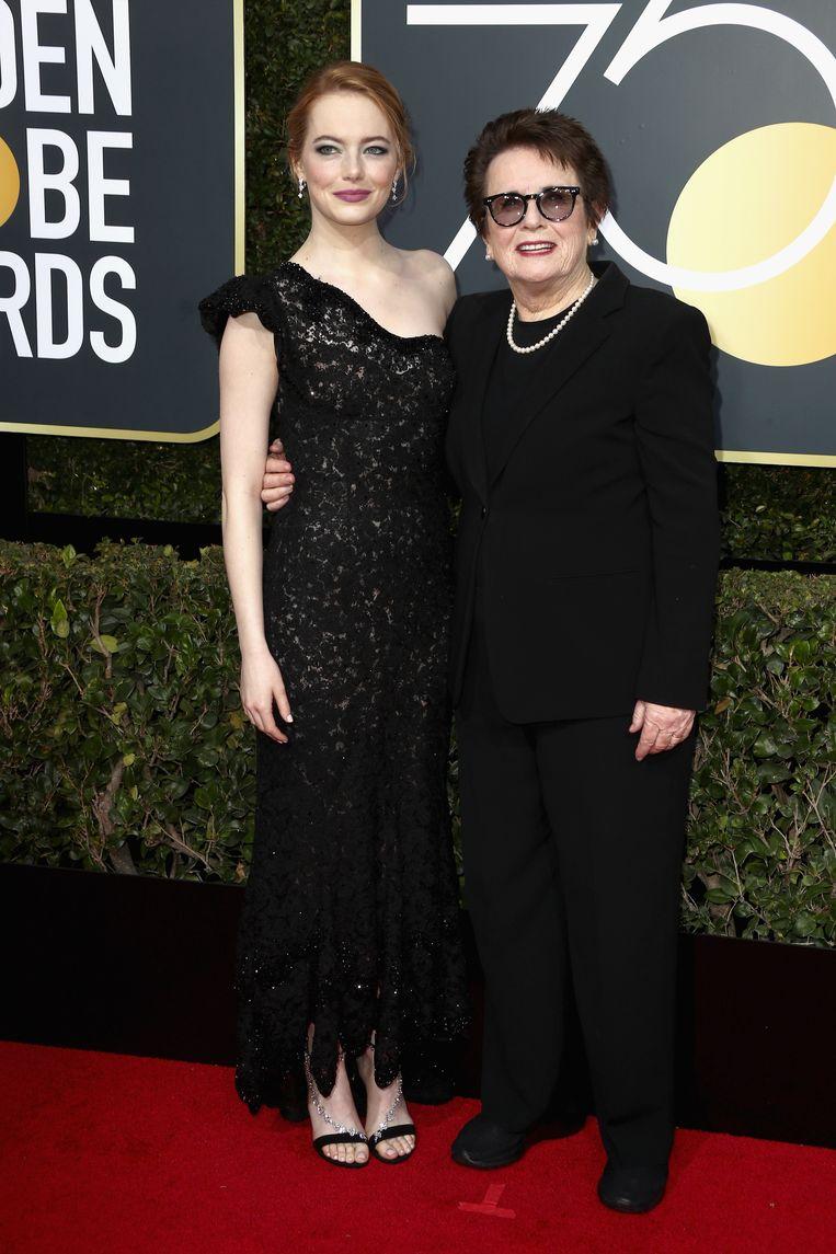 Emma Stone verscheen samen met oud-tennisster en activiste Billie Jean King die ze speelt in de film 'Battle of the Sexes'.