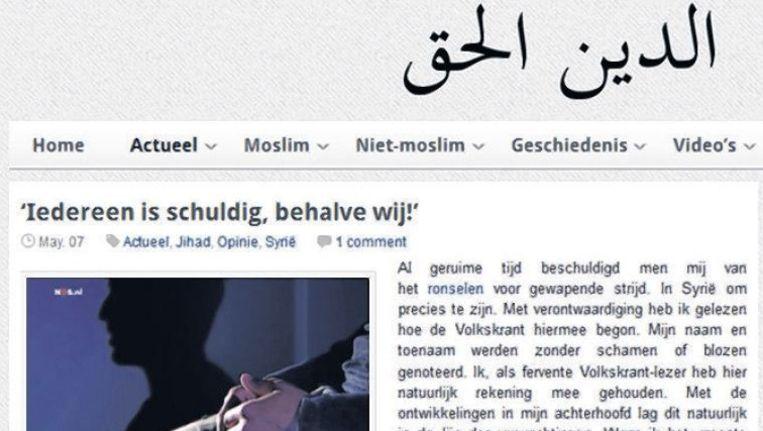 Deel van de tekst op de ultra-orthodoxe website DeWareReligie.nl. Beeld