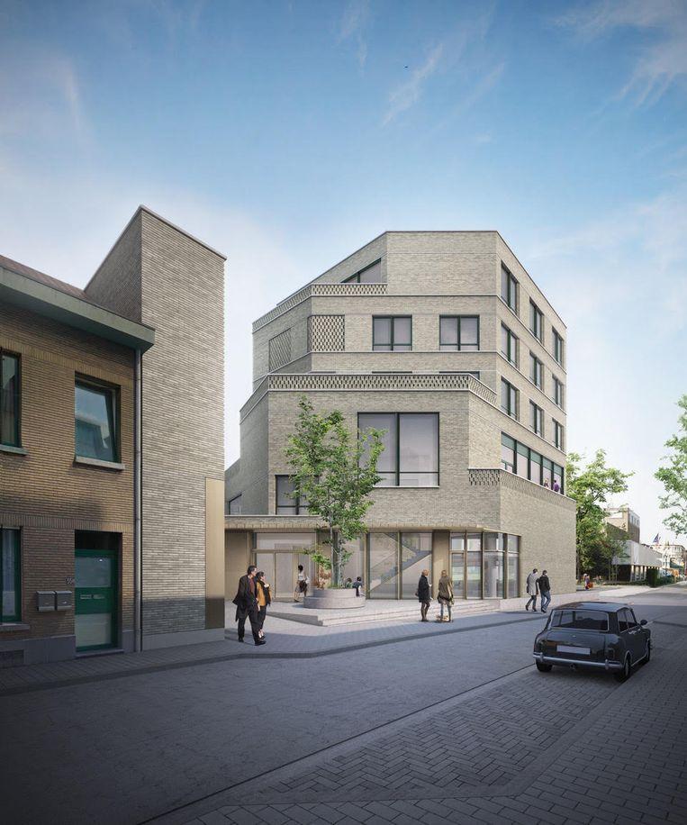 Zo zou het administratief gebouw op de hoek van de Soensstraat en de Wemmelstraat er uitzien.