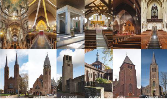 De zes kerken van de parochie Sint Petrus waar het om gaat. Vlnr: Uden, Boekel, Odiliapeel, Venhorst, Boekel en Zeeland.