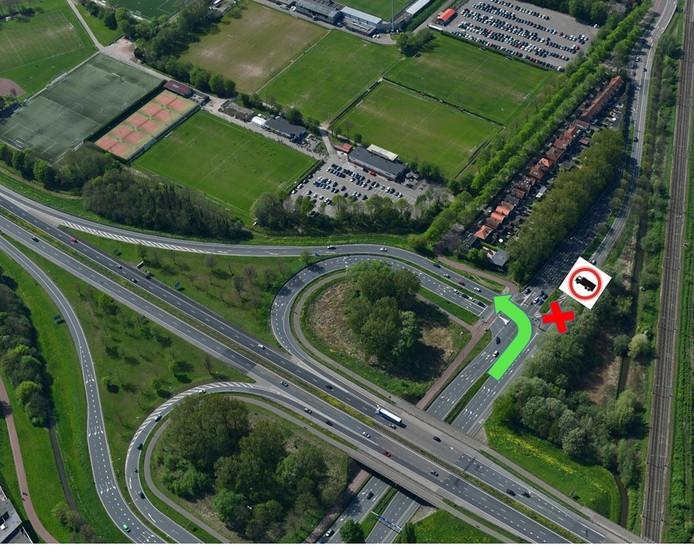 Op de Provincialeweg wordt richting de Crayensteinstraat tijdelijk een vrachtwagenverbod ingesteld. Bij de verkeerslichten moeten truckers linksaf de N3 weer op.