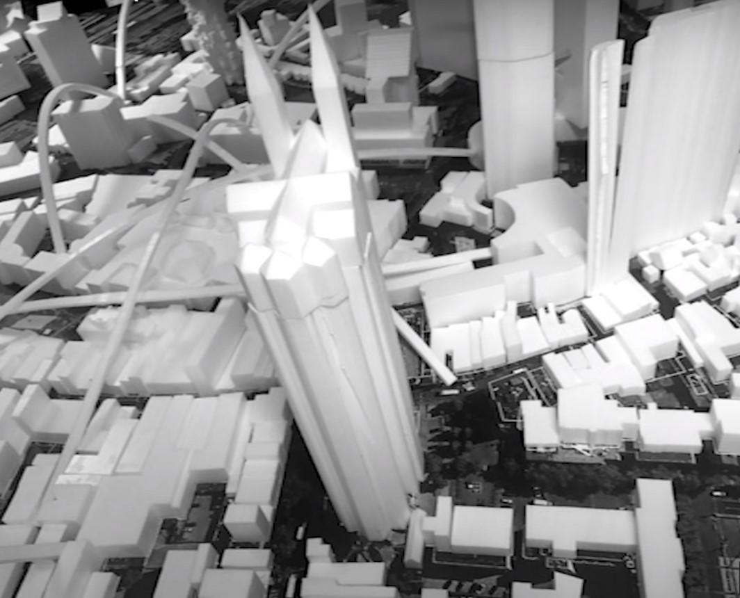 Een beeld van de opgetilde Catharinakerk in Eindhoven uit een video over de workshop van Winy Maas tijdens de Dutch Design Week in 2016.