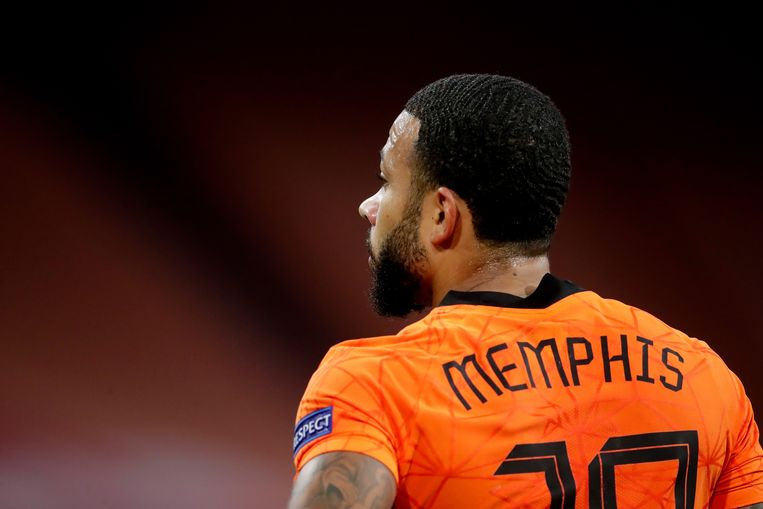 Memphis Depay tijdens een wedstrijd voor het Nederlands Elftal.  Beeld BSR