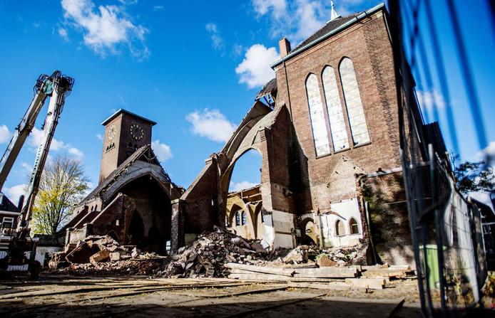 De Sacramentskerk in Tilburg, die afgelopen tijd deels werd gesloopt.