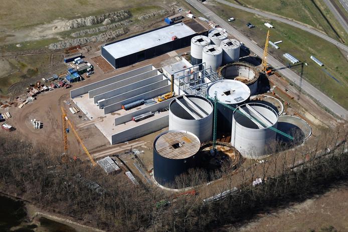 Biogasfabriek Aben Green Energy in aanbouw.