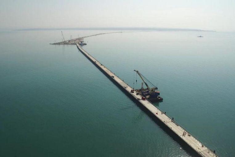 De brug die het Russische vasteland verbindt met de Krim.  Beeld RT.com