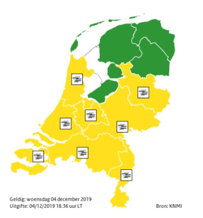 Voor acht van de twaalf provincies is code geel afgegeven.