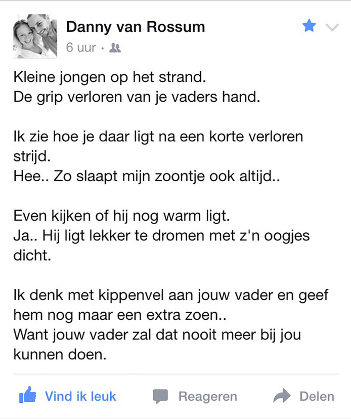Danny van Rossum uit De Meern schreef een aangrijpend gedicht