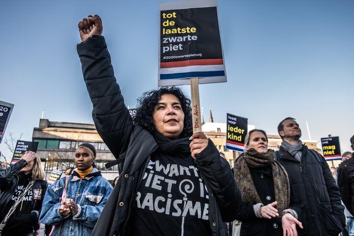 Actie van Kick Out Zwarte Piet eind vorig jaar op het Stadhuisplein in Eindhoven.