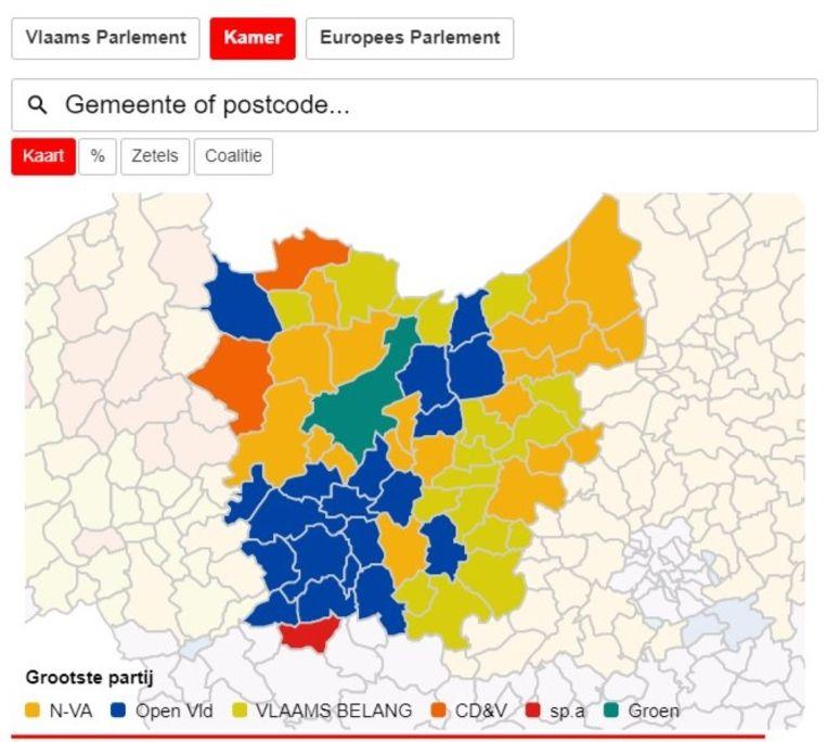 Vooral op federaal niveau is het verschil duidelijk: de Vlaamse Ardennen stemmen vooral op Open Vld, in Ronse houdt sp.a stand.