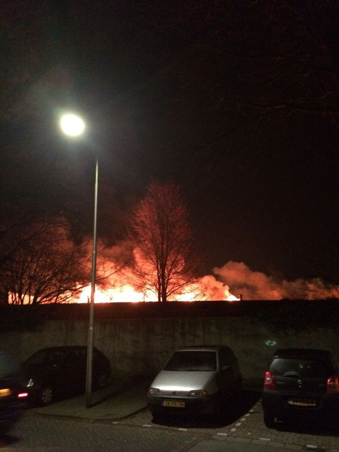 De vlammen slaan metershoog uit het dak van het pand.