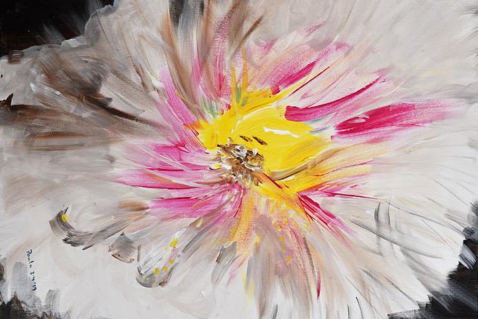 De maand juni is voor Lithse Paula Toonen die op de kalender 'exposeert' met 'Kleur, kracht, expressie, leven'.