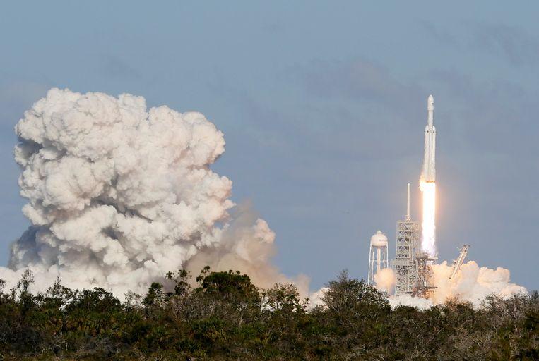 De lancering van de Falcon Heavy Beeld REUTERS