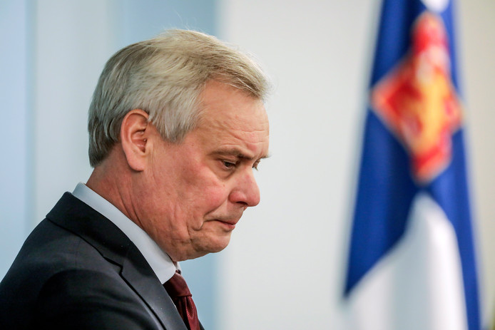 De vertrekkend premier Antti Rinne.