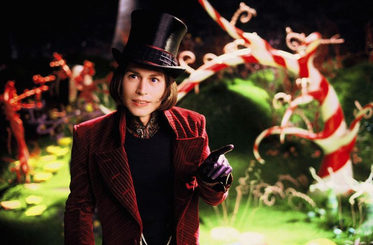 Johnny als Willy Wonka in 'Charlie And The Chocolate Factory'.