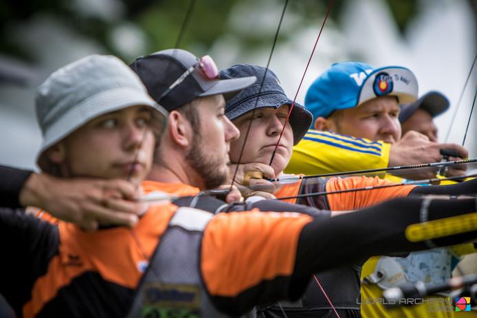 Het Oranje-trio Steve Wijler, Rick van der Ven en Sjef van den Berg (v.l.n.r.).