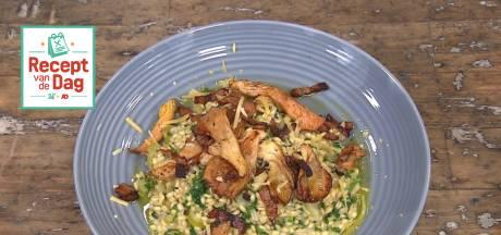 Recept van de dag: Parelgortrisotto met spekjes en oesterzwam