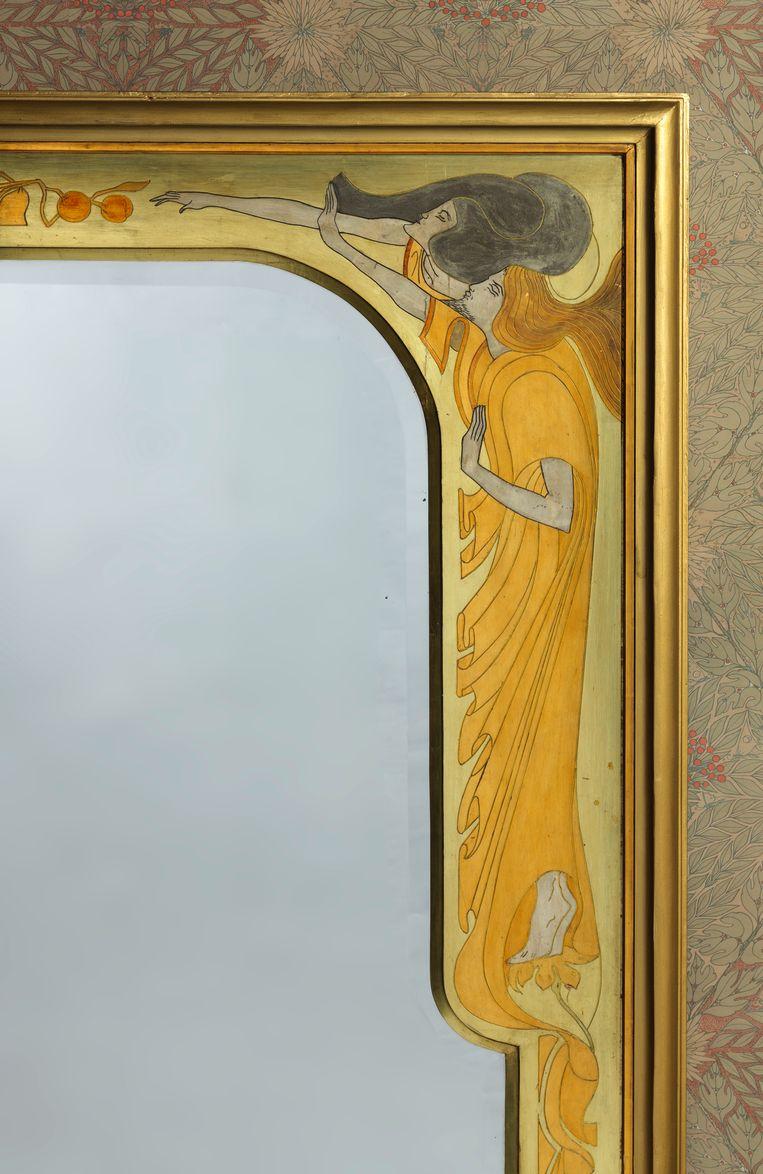 Jan Toorop (1858-1928). Uitvoering Spiegel- en Lijstenatelier M. Joosstens, Den Haag. Spiegellijst (Adam en Eva) (detail), 1898. Gestoken en beschilderd pâte, hout. Beeld Gemeentemuseum Den Haag